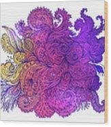 Purple Floral Indian Pattern Wood Print