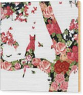 Floral Minimalist Style Cat, Tree And Birds Wood Print