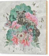 Floral Owl Wood Print