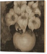 Floral Puffs In Brown Wood Print