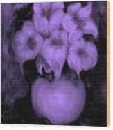 Floral Puffs In Purple Wood Print