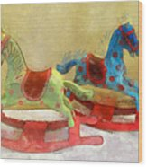 Floral Rocking Horses Wood Print
