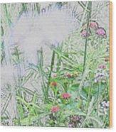Floral Sketch Wood Print