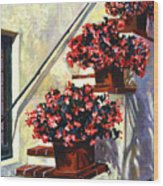 Floral Staircase Wood Print