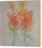 Floral Study In Pastels O Wood Print