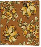 Floral Textile Design Wood Print