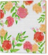 Floral Watercolor Border  Wood Print