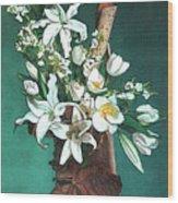 Floral White Lilies  Wood Print