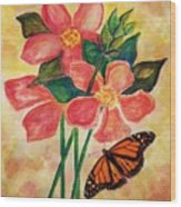 Floral With Butterfly Wood Print