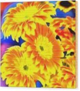 Floral Yellow Painting Lit Wood Print