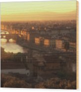 Florence And The Ponte Vecchio Dusk, Tuscany, Italy Wood Print