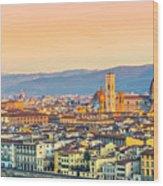Florence At Sunrise - Tuscany - Italy Wood Print