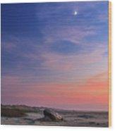 Florence Beach Twilight Moon Wood Print