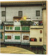 Florence - Boats Under The Ponte Vecchio Sunset - Untextured Wood Print