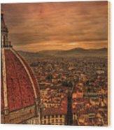 Florence Duomo At Sunset Wood Print by McDonald P. Mirabile