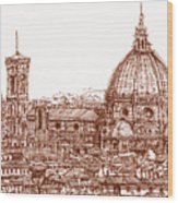 Florence Duomo In Red Wood Print