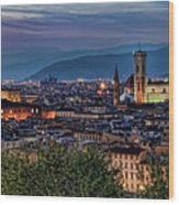 Florence In The Evening Wood Print