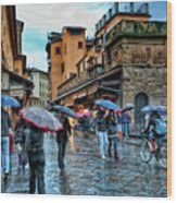 Florence In The Rain Wood Print