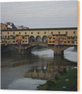 Florence Italy - An Autumn Day At Ponte Vecchio Wood Print