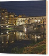 Florence Italy Night Magic - A Glamorous Evening At Ponte Vecchio Wood Print