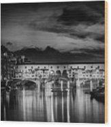 Florence Ponte Vecchio At Sunset Monochrome Wood Print