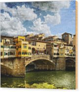 Florence -  Ponte Vecchio From The Northwestern Bank - Vintage Wood Print