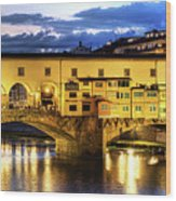 Florence - Ponte Vecchio Sunset From The Oltrarno Wood Print