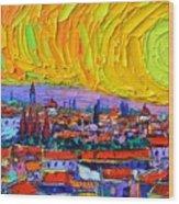 Florence Sunset 5 Modern Impressionist Abstract City Impasto Knife Oil Painting Ana Maria Edulescu Wood Print