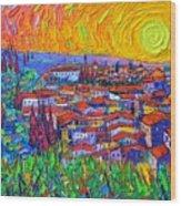 Florence Sunset 7 Modern Impressionist Abstract City Impasto Knife Oil Painting Ana Maria Edulescu Wood Print
