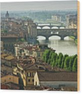 Florence. View Of Ponte Vecchio Over River Arno. Wood Print