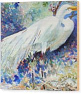 Florida Egret With Nest Wood Print