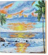 Florida Keys Beach Sunset Wood Print