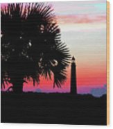 Florida Lighthouse Sunset Silhouette Wood Print
