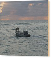 Florida Lobstermen At Dawn Wood Print