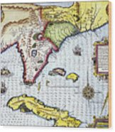 Florida: Map, 1591 Wood Print
