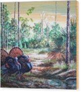 Florida Osceola Turkeys- The Two Kings Wood Print