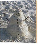 Florida Snowman Wood Print