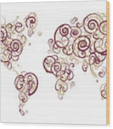 Florida State University Colors Swirl Map Of The World Atlas Wood Print