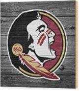 Florida State University Seminoles Logo On Weathered Wood Wood Print