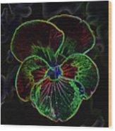 Flower 5 - Glowing Edges Wood Print