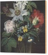 Flower And A Delphinium In A Glass Vase Wood Print