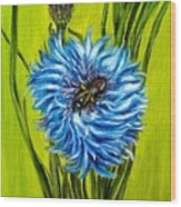 Flower And Bee Oil Painting Wood Print