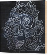 Flower And Bird Scratch Board Wood Print
