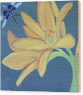 Flower And Insect Wood Print