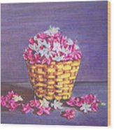 Flower Basket Wood Print