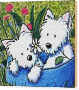 Flower Bed Westies Wood Print