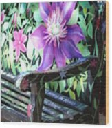 Flower Bench Wood Print