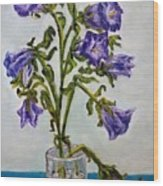 Flower  Bluebells Original Oil Painting Wood Print