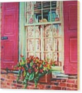 Flower Box  And Pink Shutters Wood Print