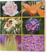 Flower Collage 1 Wood Print
